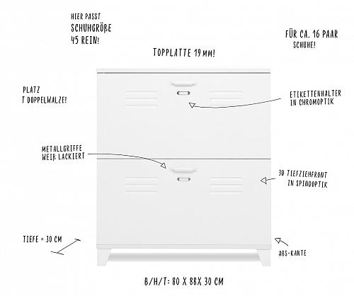 Schuhkipper Factus | Industrial | Spind-Optik | weiß